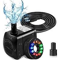 SunTop Mini Aomba de Agua con Leds, Bomba Sumergible con 12 Luz de LED Colorido, 220V,15W,800L/H, H Altura 1.6M/Aguas…