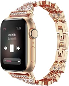 FanTEK for Apple Watch Band 42mm 44mm, Adjustable Women Dressy Jewelry Stainless Steel Metal Replacement Compatible with iWatch SE Series 6 Series 5 4 3 2 1, Rose Gold