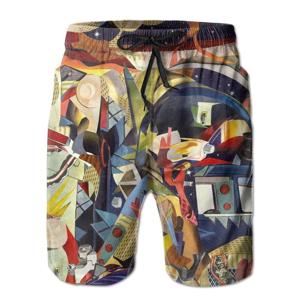 WZnWei Trippy Acid Collage Athletic Mens Shorts Beach Swim Trunk Summer