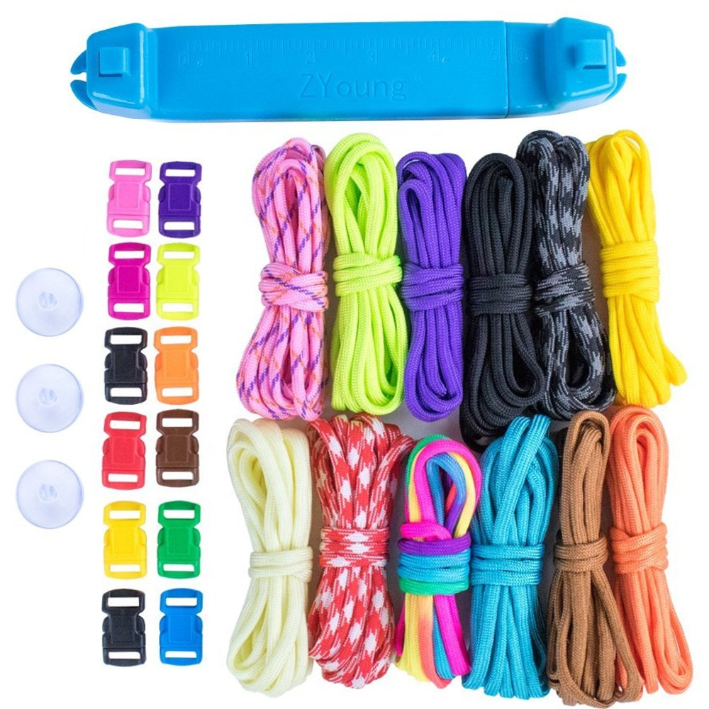 Paracord Parachute Cord Jig Bracelet Loom-Plastic Wristband Maker Paracord Brading Weaving Tool-DIY Craft Kit 12 Rainbow Color Cord & Buckles-Suctions to Table-Great for Beginner,Intermediate,Advanced by Craft County