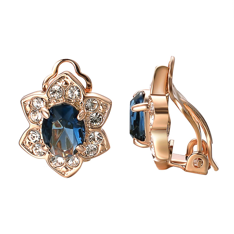 Yoursfs Clip Earrings For Women Flower Shape Fashion Crystal Non Pierced Earrings (Blue Clip Earrings)