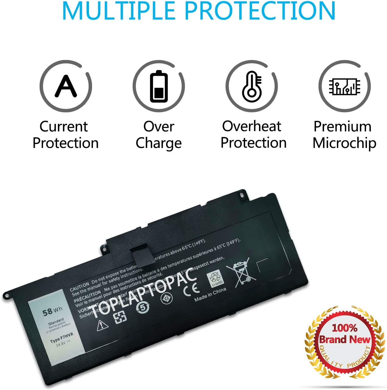 Amanda F7HVR Battery 14.8V 58WH Replacement for Dell Inspiron 17 ...
