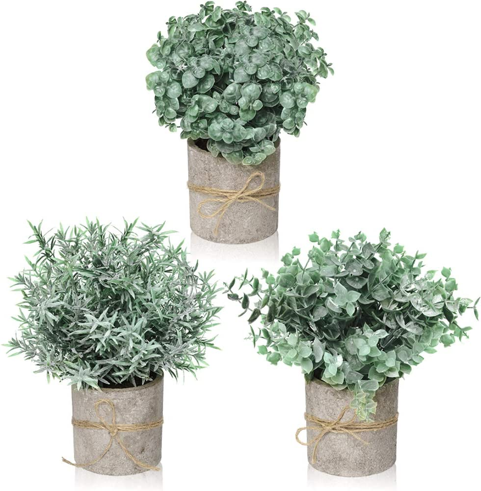 Farmhouse Decor for the Home, Farmhouse Bathroom Decorations - Modern Farmhouse Decorations for Farmhouse Bathroom or Farmhouse Table - Artificial Eucalyptus Plant Rustic Set of 3 Artificial Plants