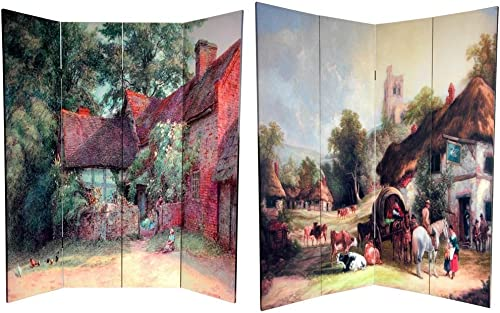 Oriental Furniture 6 ft. Tall Double Sided Farm Life Canvas Room Divider
