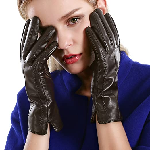 6c06dcbd3 Winter Touchscreen Texting Leather Gloves Women Nappa Leather Cashmere  Lining Gloves (6.5(US Standard