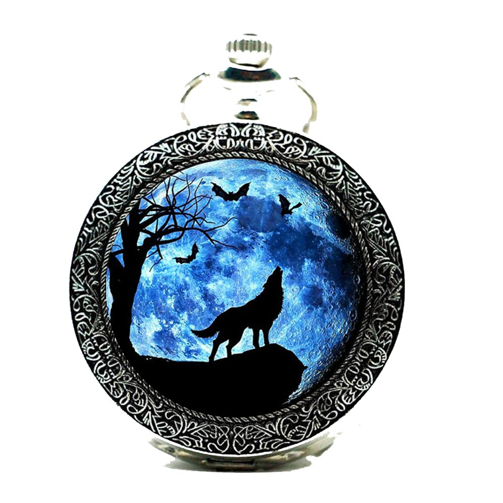 UNION ONE Moon Wolf Quartz Glass Cabochon Groomsman Pocket Watches Fob (Silver)