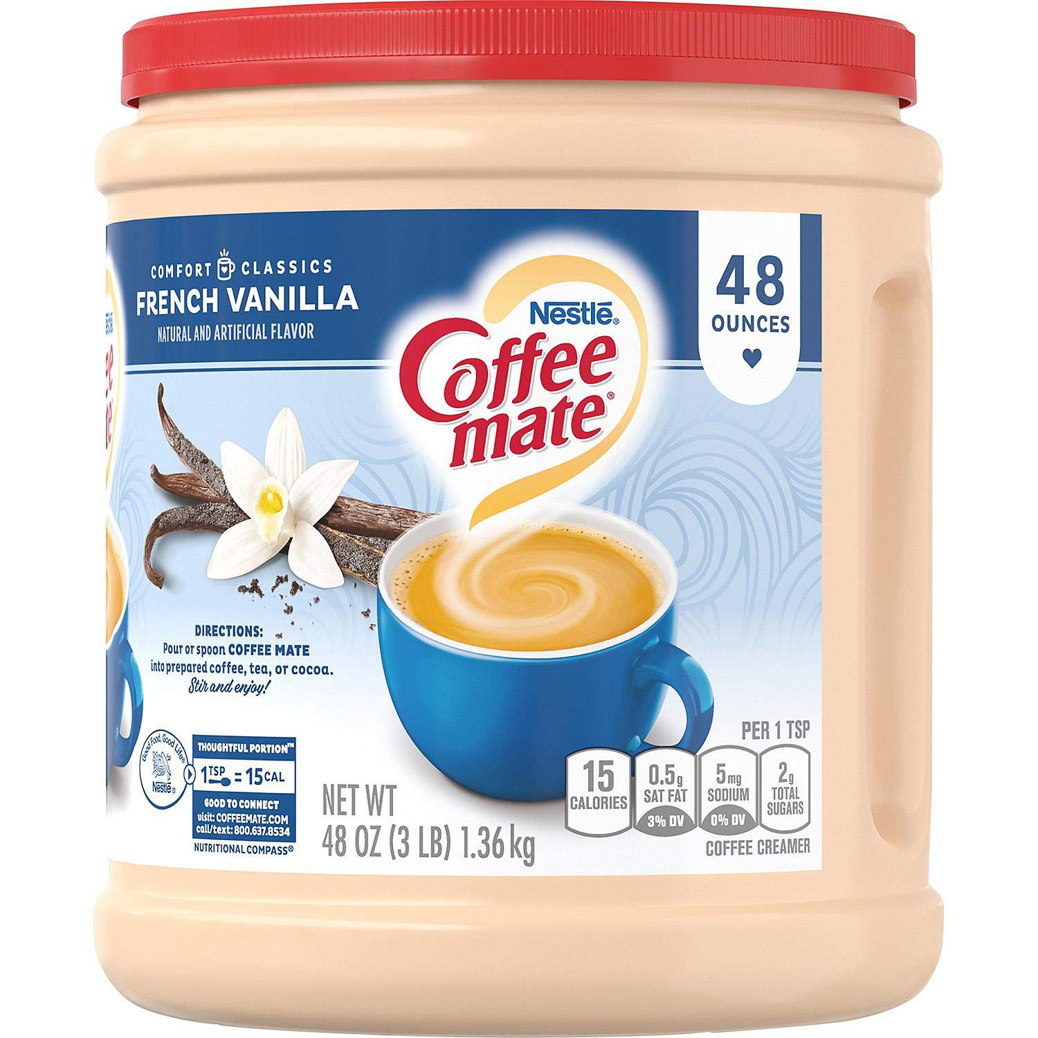 Nestle Coffee-mate Powder, French Vanilla 48 oz. (pack of 3) A1 by Store-383 (Image #1)