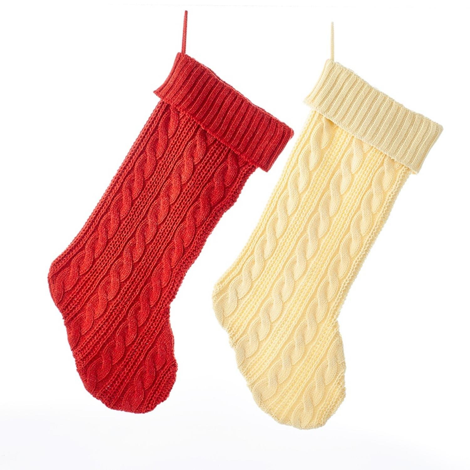 Pack of 12 Solid Red and Solid Ivory Cable Knit Christmas Stockings 20''