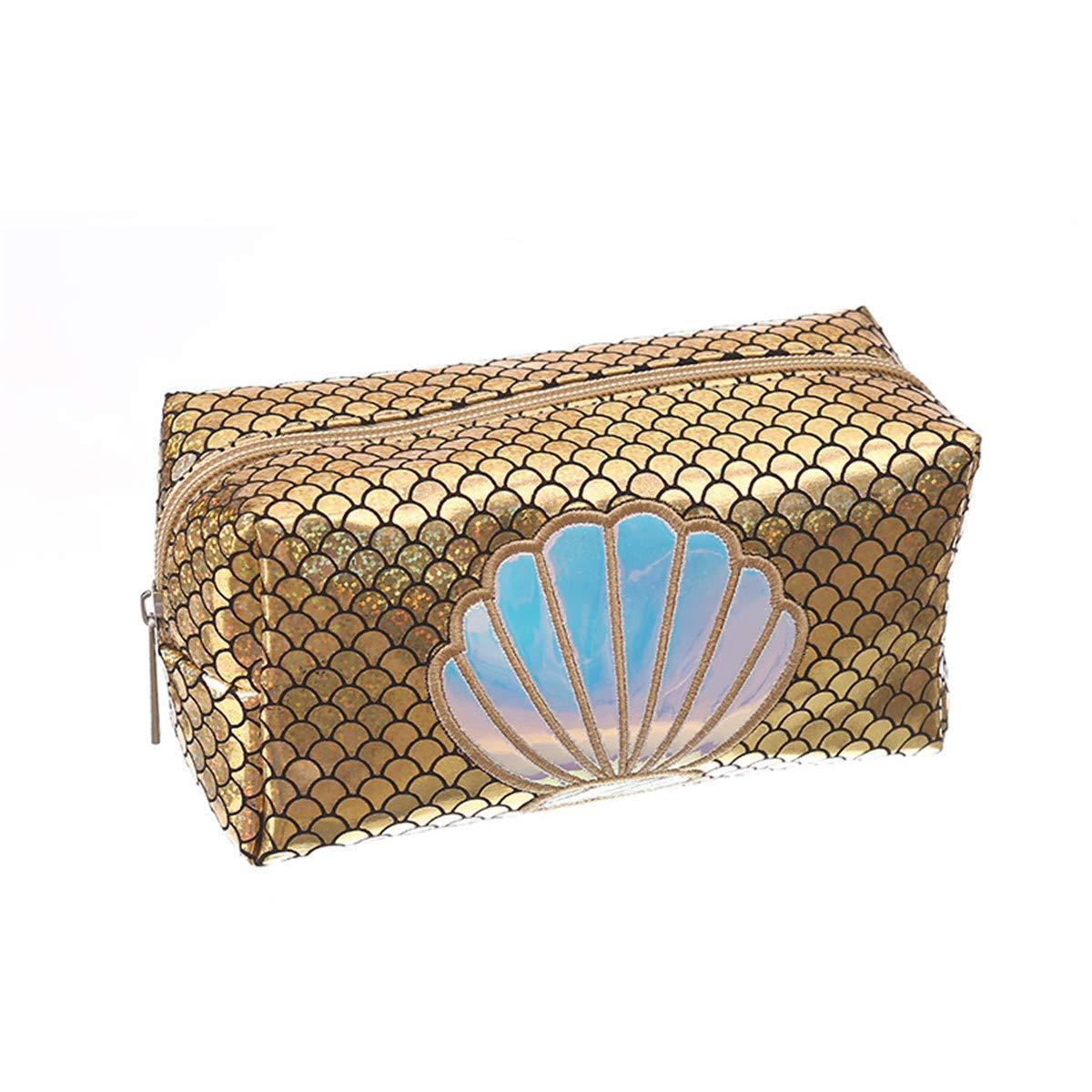 WINTER DONG Acuarela Rainbow Mermaid Scales Bolsa de Maquillaje Art/ículos de tocador Bolsa de Viaje Estuche para Mujeres Fish Tail Organizador port/átil Bolsa de Almacenamiento Bolsas Caja