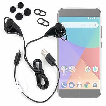 DURAGADGET Auriculares inalámbricos en Color Negro para Smartphone Xiaomi Mi A1