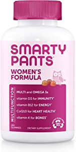 SmartyPants Women's Formula Gummy Multivitamins: Vitamin C, D3, and Zinc for Immunity, Biotin for Hair, Skin & Nails, Omega 3 Fish Oil, CoQ10 for Heart Health, Methyl B12, 180 Count (30 Day Supply)