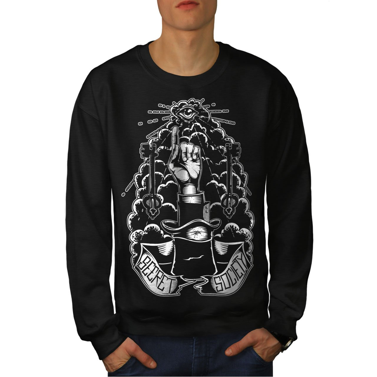 Wellcoda Secret Illuminati Mens Sweatshirt, Illuminati Top Pullover Jumper