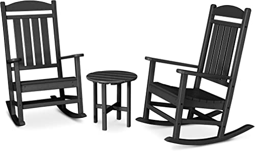 POLYWOOD PWS109-1-BL Presidential 3-Pc. Rocker Set, Black