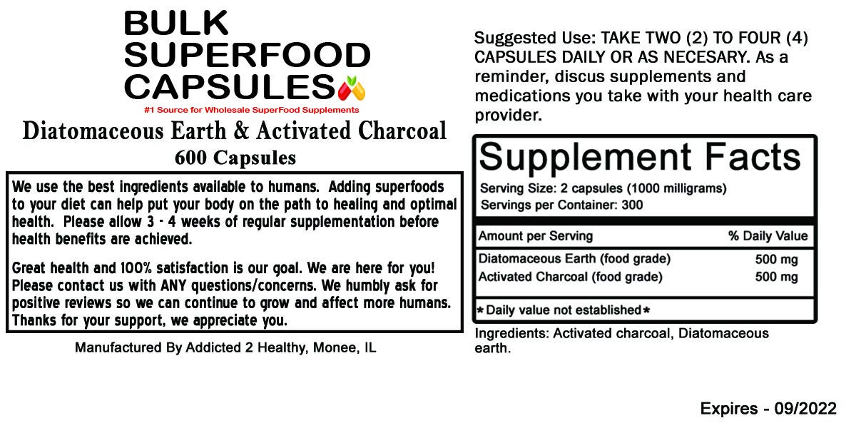 600 Diatomaceous Earth & Activated Charcoal Capsules - Exclusive Formula, Stomach Health, Impurity Flush, Hangover Relief! Buy in Bulk and Save!