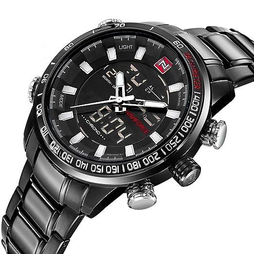 Relojes Para Hombres Deportivos Fashion Negro Impermeable Digital LED Analógico De Alarma Con Cronógrafo: Amazon.es: Relojes