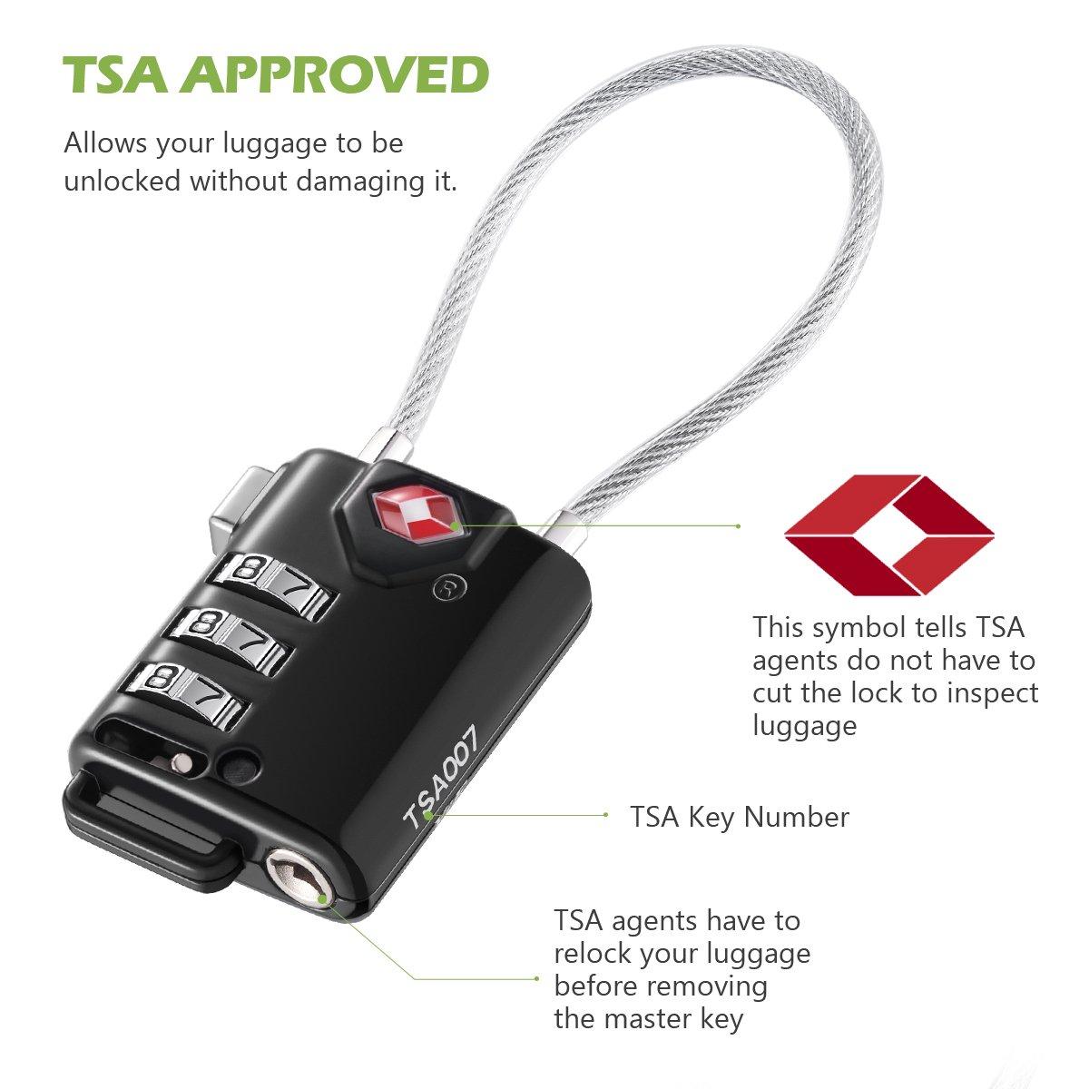 KeeKit TSA Approved Luggage Locks, 3 Digit Combination Lock, TSA Luggage Lock, Cable Lock for Travel, Suitcase, Baggage & Backpack, Gym Locker (Black, 2 Pack) by KeeKit (Image #2)