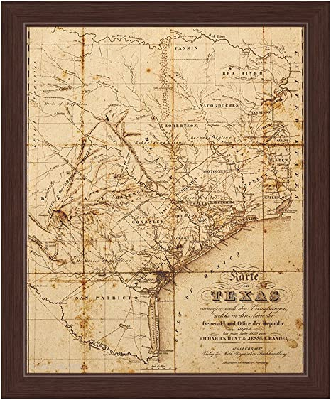 Amazon Com Antiqued Distressed State Of Texas Map Framed Canvas Art Print Wall Décor 20x30 Posters Prints