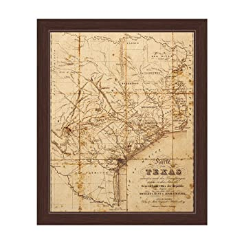 Antiqued Distressed State Of Texas Map Framed Canvas Art Print Wall Décor  20x30