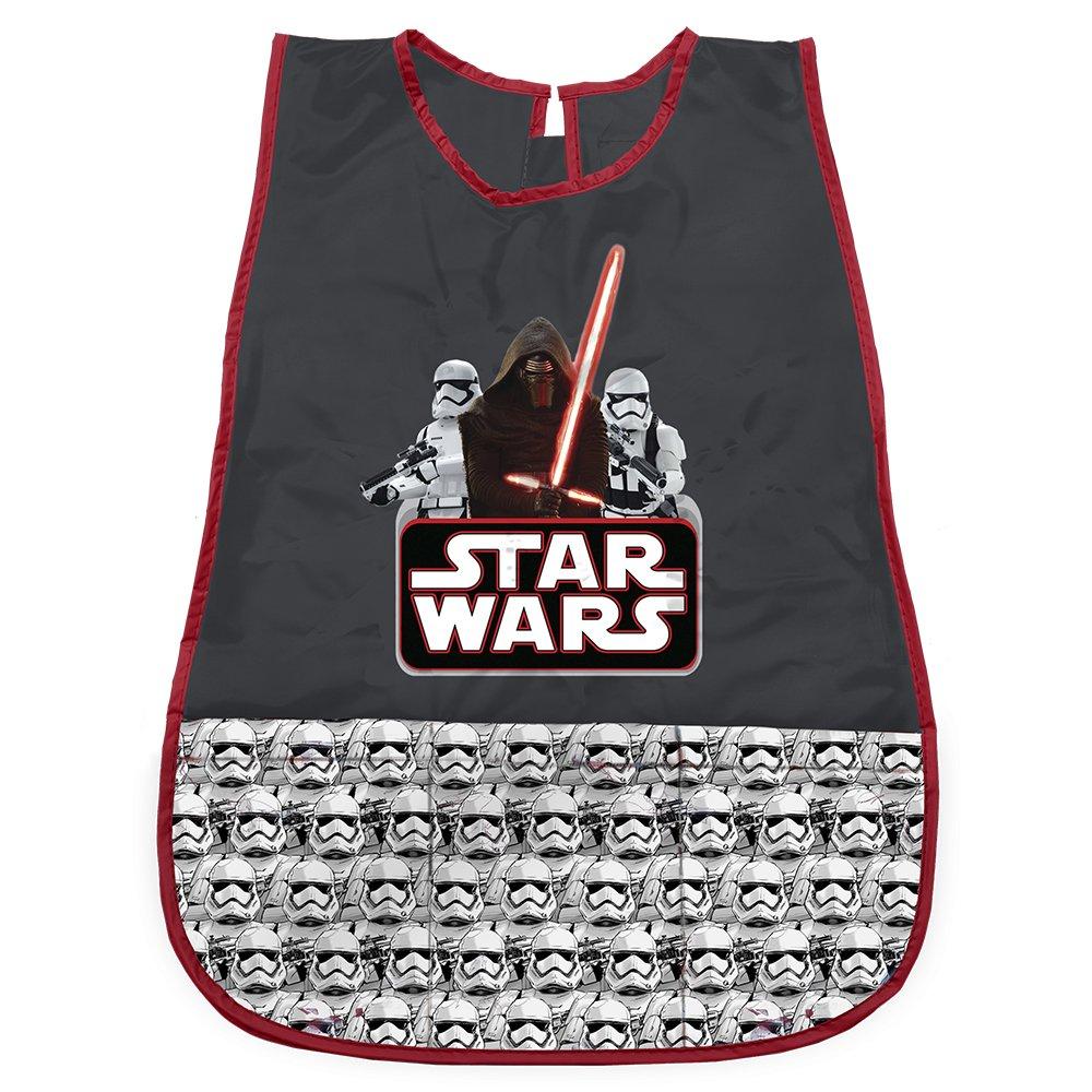 Star Wars Kittel für Kinder - PVC Schürze Wasserdicht und Frontalfach von Krieg der Sterne - Ideal als Schutz für Kinderkleidung - 3 bis 5 Jahre - Schwarz - Perletti 99685
