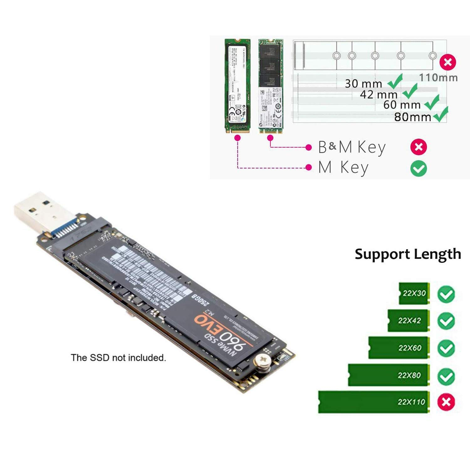 10 WOVELOT Nvme a Usb3.0 Adaptador USB a M2 Ssd Clave M Tarjeta de Alto Rendimiento 10 Gbps Port/áTil para Windows XP 7//8 Os