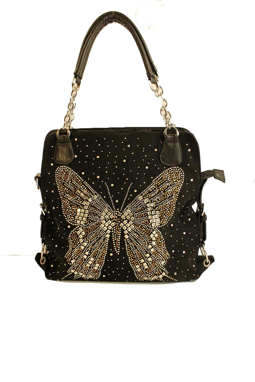 Rhinestone Butterfly Handbag in Black