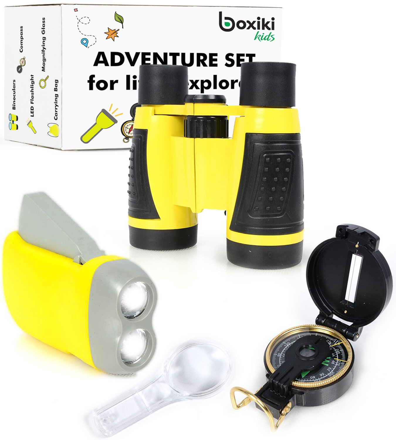 Nature Exploration Adventure Toys | 5 PC Outdoor Adventure Set | Compass, Magnifying Glass, Flashlight, Backpack /& Binoculars For Kids | Educational Outdoor Toys for Boys /& Girls by Boxiki Kids