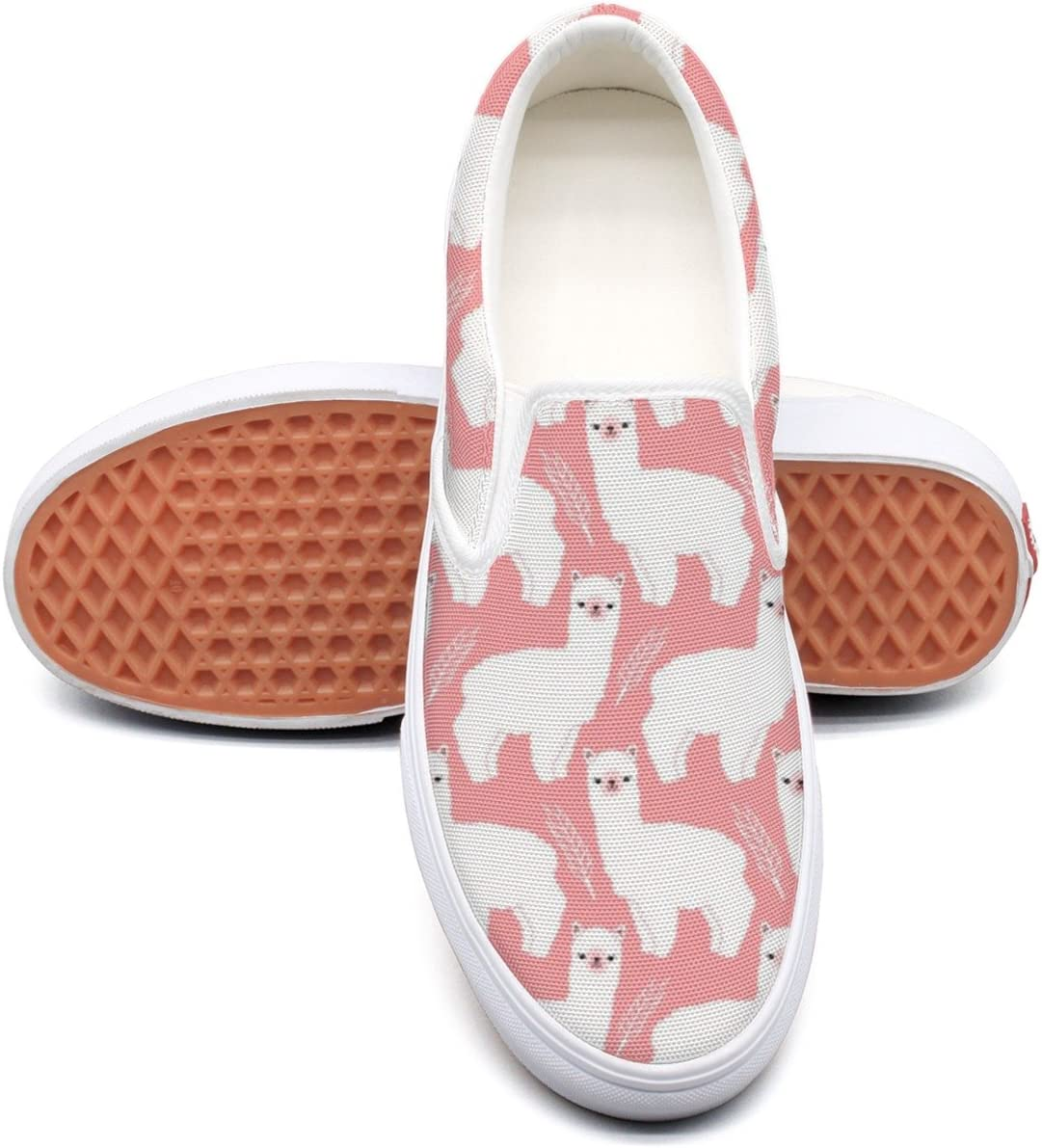 seventtynine Pink Llama Classic Women Canvas Slip-Ons Loafer Shoes Sneaker