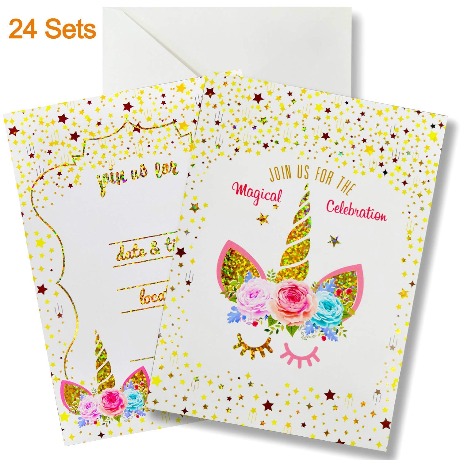 24 Pack Glitter Large Unicorn Invitations Cards Set with Envelopes Party Supplies for Kids Birthday Baby Shower Double Sided