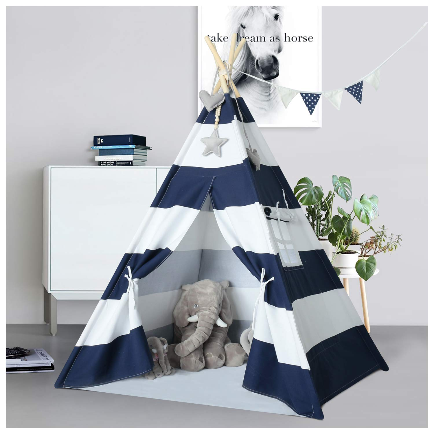 UKadou-Kids-Teepee-Tent-for-Boys Navy and White Stripe Teepee Tent Indian Canvas Tents for Toddlers Indoor Outdoor Playhouse Play Tent for Kids