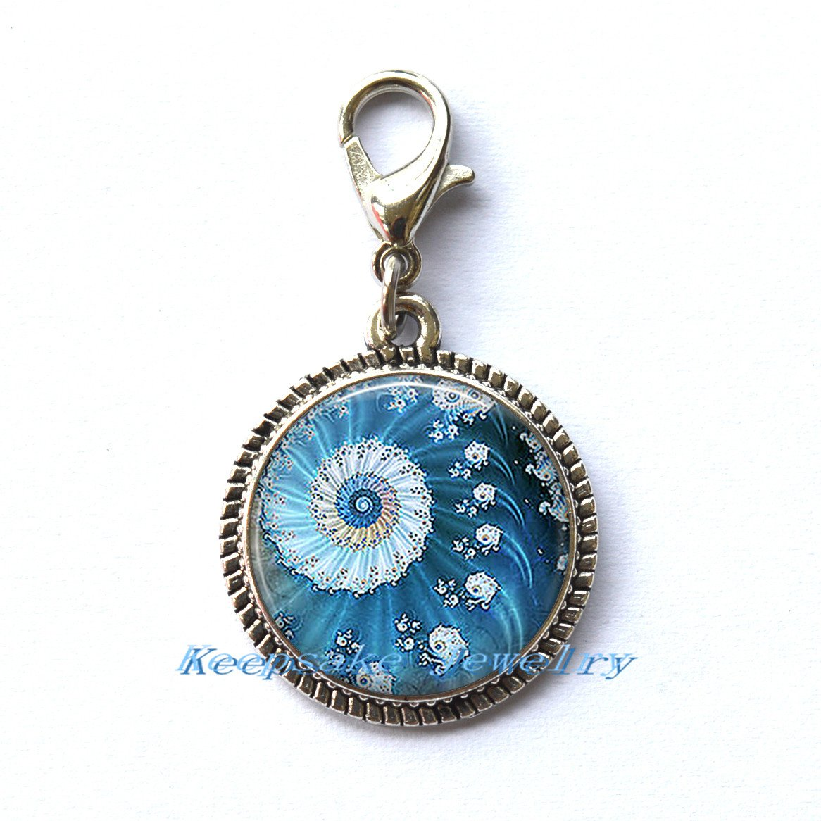 Blue Ocean Fractal Zipper Pull, Perfect for Necklaces, Bracelets , keychain and earrings Charm planner charm Blue Ocean Fractal handmade Jewelry-a0239