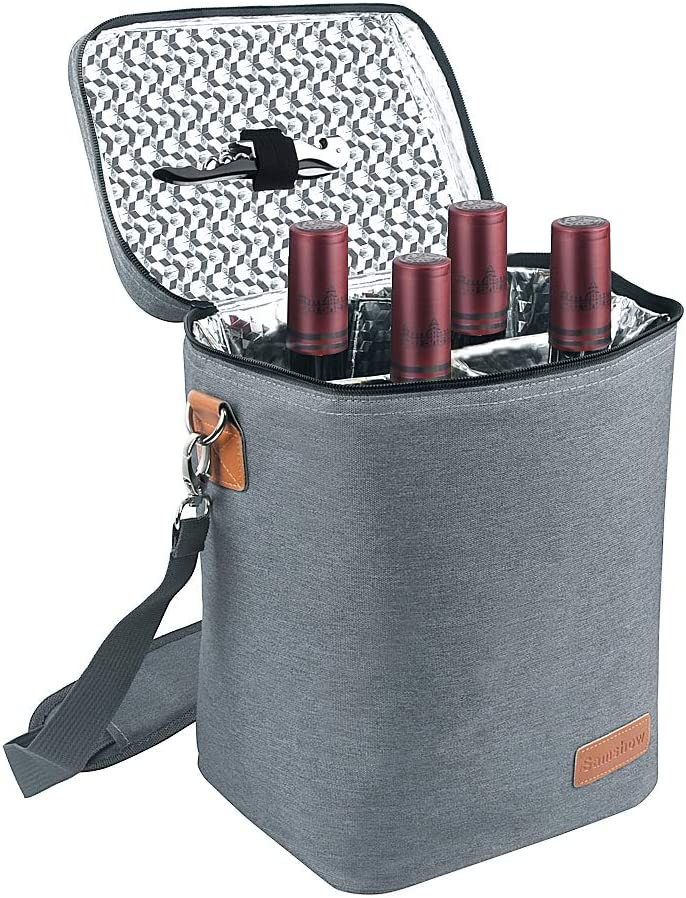 Insulated Wine Carrier Tote - Samshow 4 Bottle Wine Carrier with Shoulder Strap, Padded Protection, and Corkscrew for Travel, Camping and Picnic, Perfect Wine Lover (Grey)