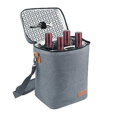 Amazon.com: Samshow - Bolsa térmica para 4 botellas de vino ...