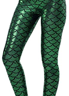 bed26753d2812 LooBoo Leggings Collants Sexy avec Imprime Skinny Pantalon Slim Mince en  Ecaille De Poisson Sirène Extensible
