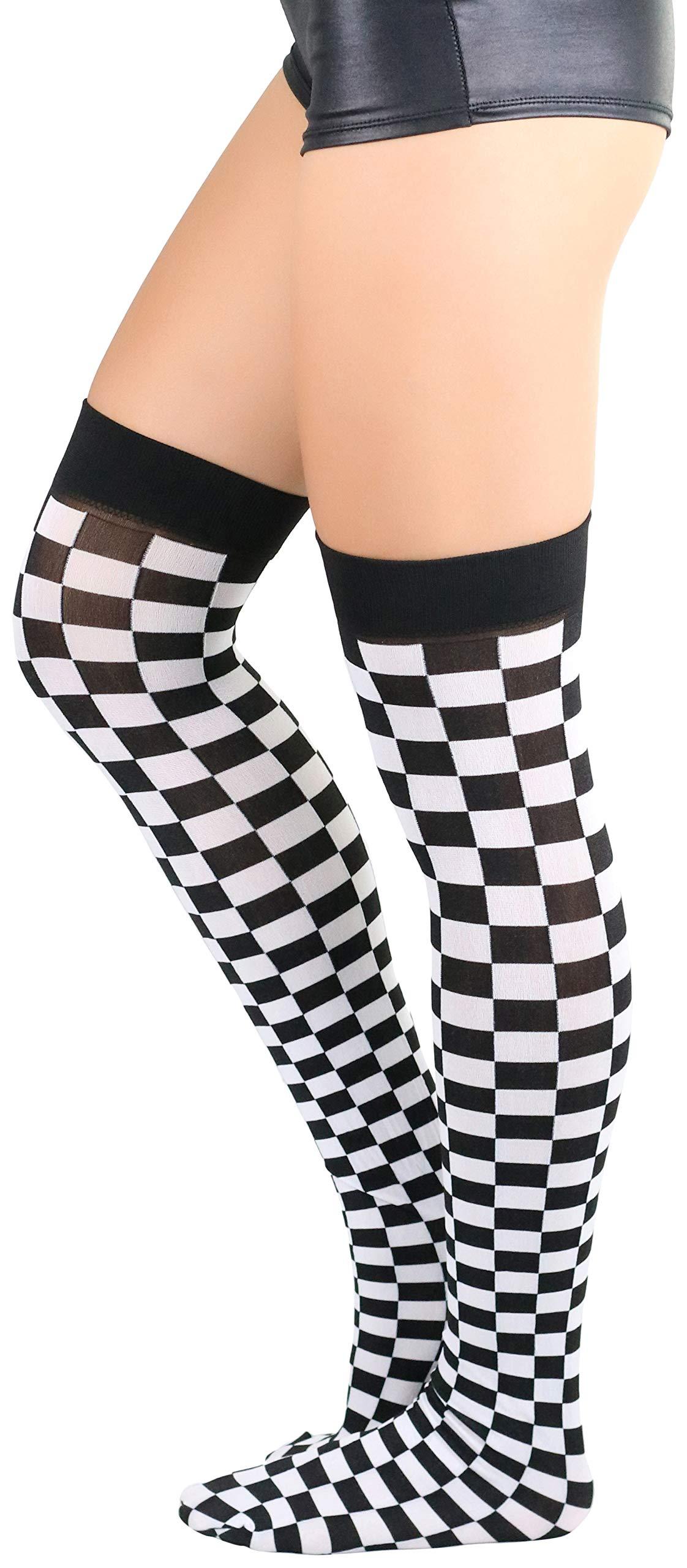 ToBeInStyle Women's Checkered Stockings Black/White - OS