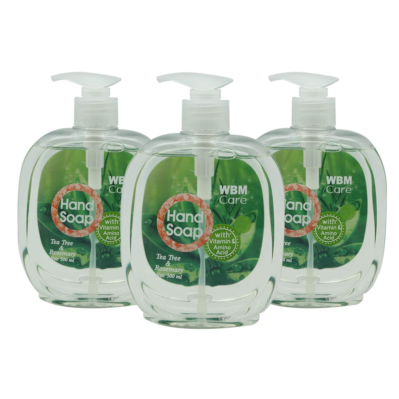 WBM LLC 8654 Natural Liquid Hand Soap 500 ml, (3-Pack), Tea Tree & Rosemary (3 Pack), 52 Ounce