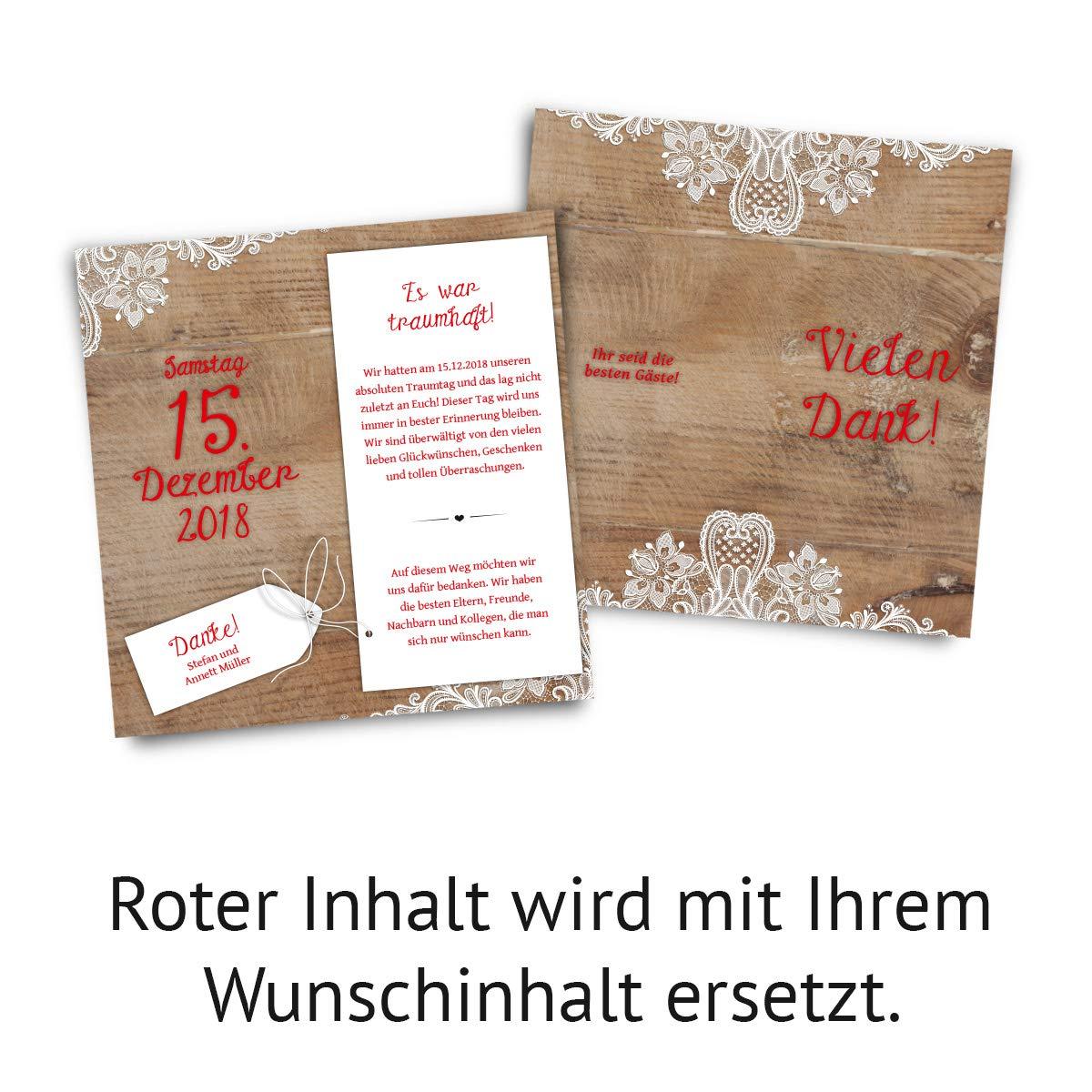 30 x hochzeit dankeskarten danksagungskarten danke din lang klappkarte rustikal mit weißer spitze amazon de bürobedarf schreibwaren