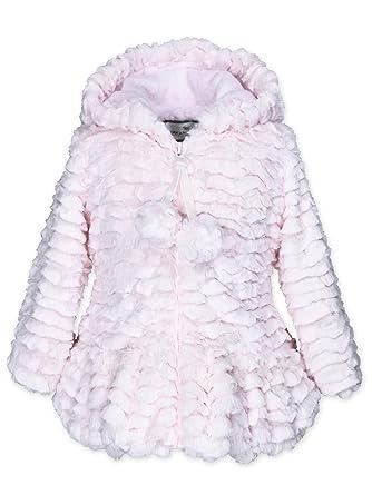 01443bf8d25a Amazon.com  Widgeon Baby Girls Pompom Peplum Faux Fur Coat 3623 ...
