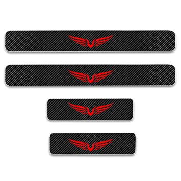 For FOCUS 4D M Car Pedal Covers Door Sill Protectors Entry Guard Scuff Plate Trims Anti-Scratch Reflective Carbon Fiber Stickers Auto Accessories Exterior Styling 4Pcs Red