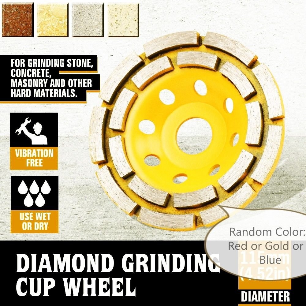 4 Inch (pack of 4 Pieces) Diamond Double Row Grinding cup wheel segmented for concrete stone birck cement surface grinding coating paint remove mortar leveling heavy duty abrasive wheel sanding disc