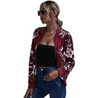 ROMWE Women's Casual Floral Print Zip Up Lightweight Bomber Jacket