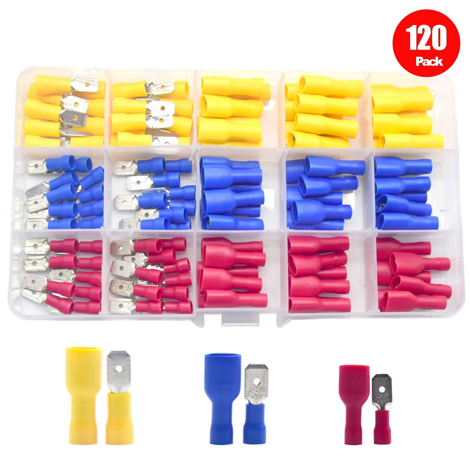 Yosawo 120 Pieces AWG 22-16 16-14 12-10 PVC Fully Insulated Male//Female Spade Quick Disconnect Electrical Insulated Crimp Terminals Connectors Set PVCGM