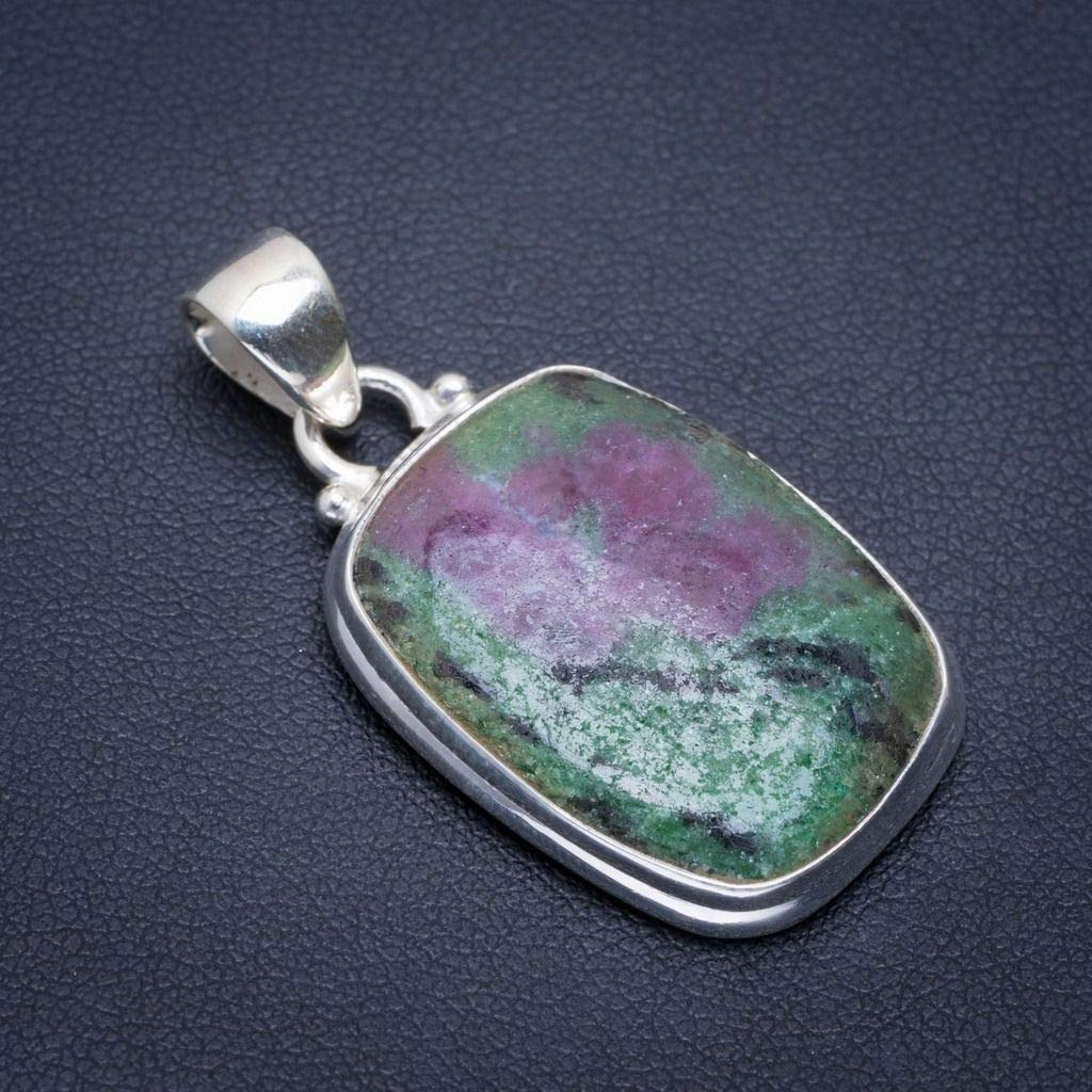 Natural Ruby Zosite Handmade Unique 925 Sterling Silver Pendant 1.5 A1623