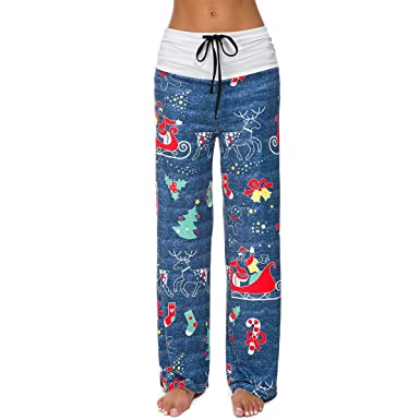 4d418510fc127 TOOGOO Pantalon à Imprimé de No?l pour Femmes Pantalon à Jambes Larges à  Taille