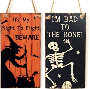 AiParty Halloween Wooden Hanging Door,Welcome Signs for Front Porch Decor.Halloween Decorations Indoor Outdoor Wall Art 2PCS