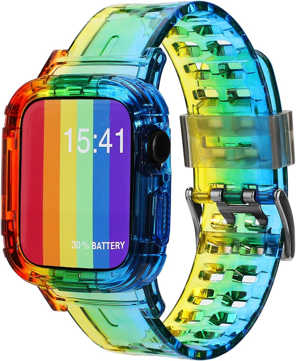 SEARME TREND Apple Watch Band 38mm 40mm 42mm 44mm with Rugged Bumper Case, Women Men Iwatch Bands Crystal Clear Sport Wristband Compatible for Apple Watch Series 6 Band and Series 5 4 3 2 1 SE