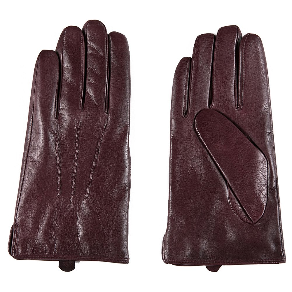Borgasets Men's Nappa Coat Leather Winter Driving Gloves Bgs14gsm015 (M, Wine red)