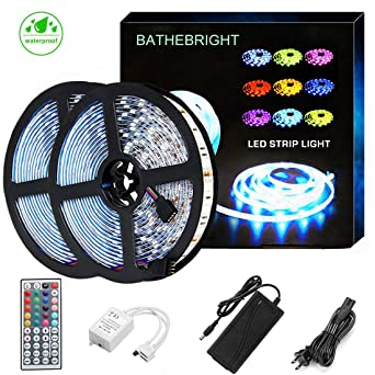 Bathebright Led Strip Lights Waterproof 600leds 32.8ft 10m Waterproof Flexible Color Changing Rgb Smd 5050 600leds Led Strip Light Kit +44 Keys Ir Remote Controller+12 V 6 A Power by Bathebright