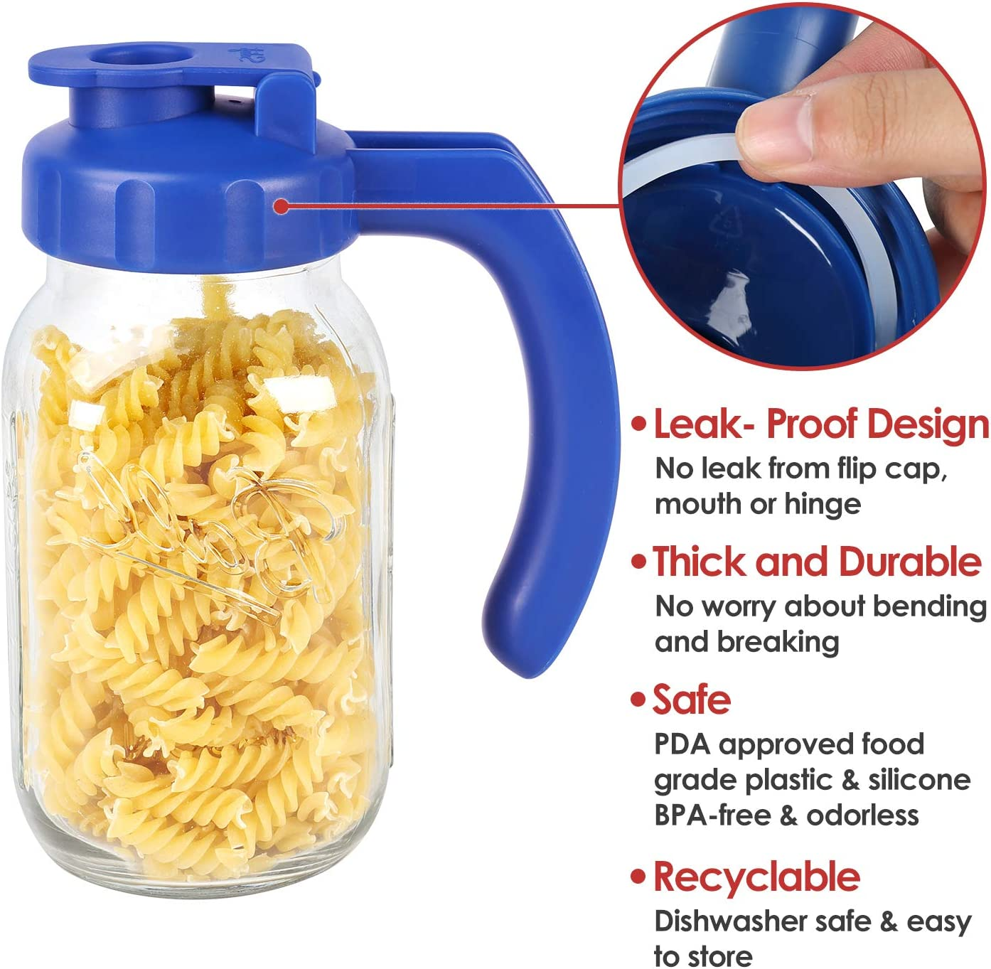 JARS NOT INCLUDED 2 Pack Regular Mouth Mason Jar Lids with Handle Airtight /&Leak-proof Seal Turns your Mason Jar into Pitcher Easy Pouring Spout