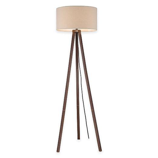 Amazon Com Tripod Floor Lamp In Walnut With Linen Shade