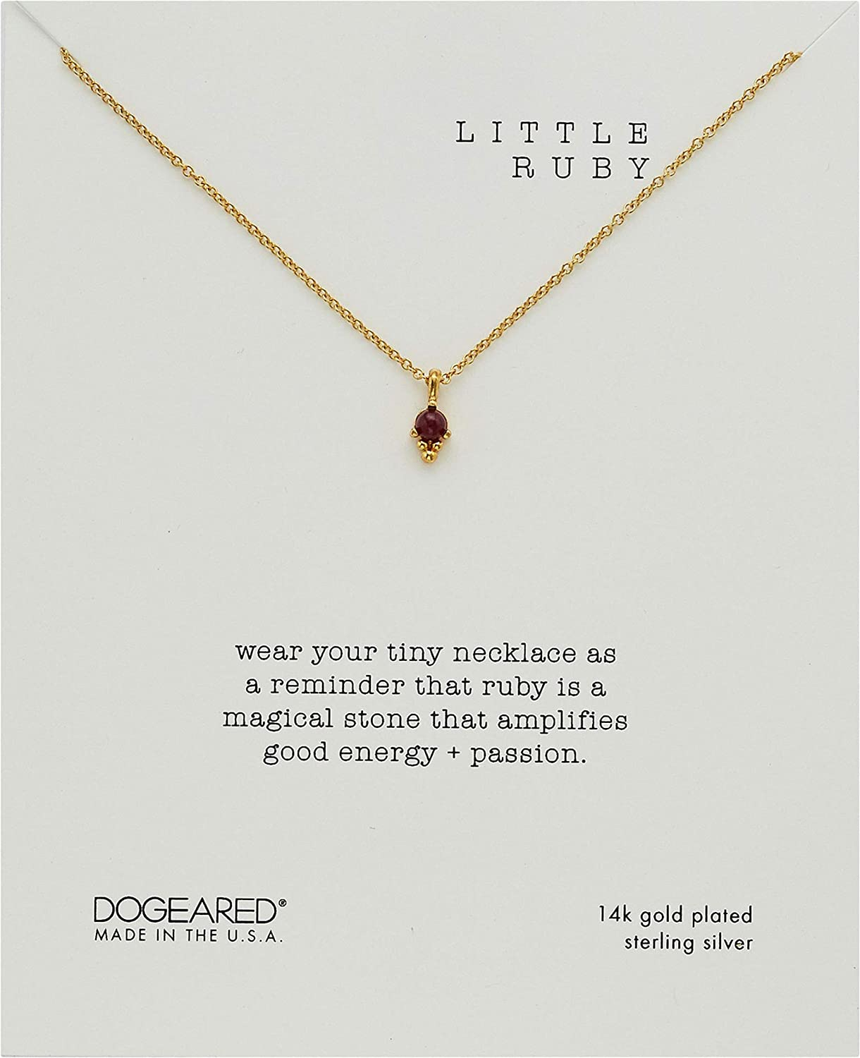 Dogeared Womens Little Ruby Dotted Bezal Ruby Necklace